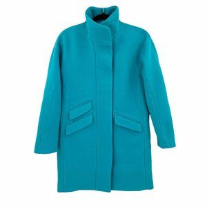 NEW J. Crew Aqua Sea Cocoon Italian Stadium Cloth Wool Coat